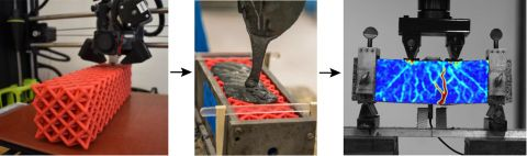 Using polymer octet lattice to reinforce the pliability of concrete