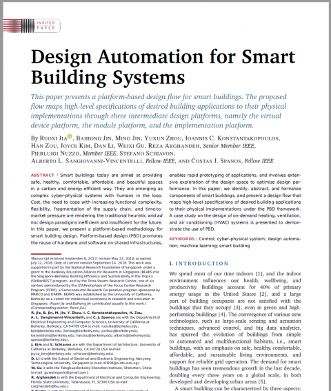 Design Automation for Smart Building Systems