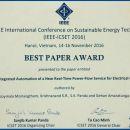 IEEE-CSET 2016 Best Paper Award