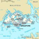 Map of Singapore and outline of Singapore and its surrounding islands and waterways.